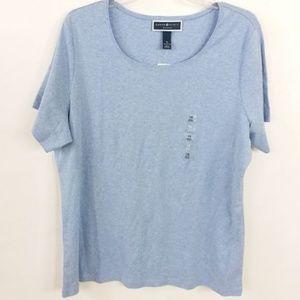 Karen Scott Blue Shirt Short Sleeve Pullover -15
